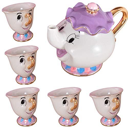 Juegos de té Juego De Té De La Bella Y La Bestia De Dibujos Animados Mrs Potts Chip Cup Set Sugar Bowl Mug [1 Olla + 5 Tazas] Regalo Del Día De San Valentín