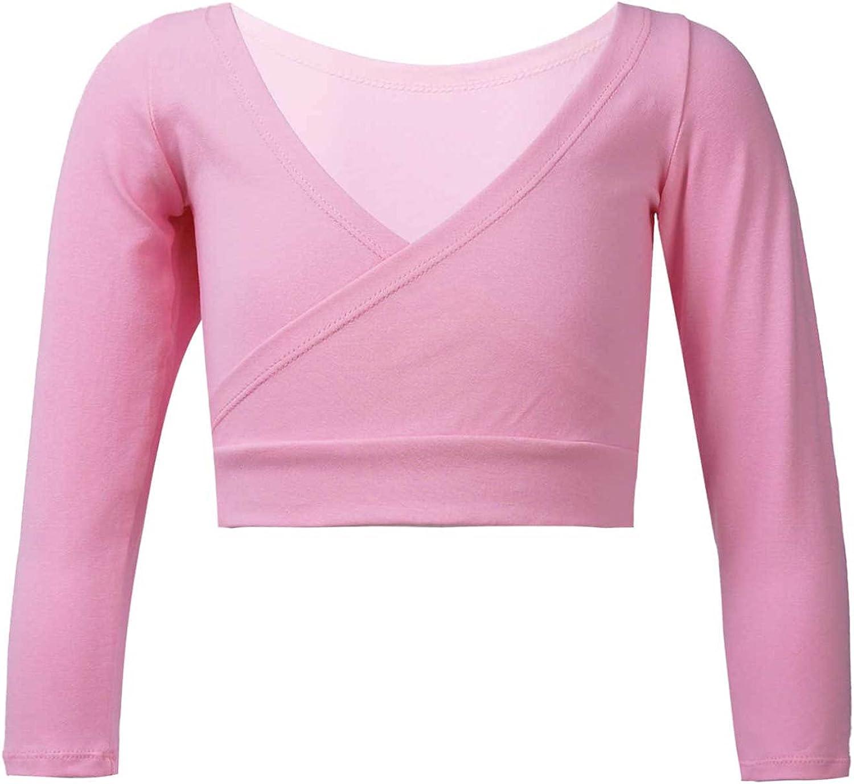 Freebily Kids Girls Solid Color Long Sleeve Cotton Ballet Dance Wrap Tops Crisscross Shrug Cardigan Outwear
