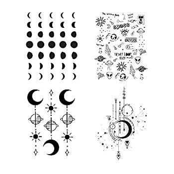 SanerLian Moon Phase Planet Temporary Tattoo Sticker Black Waterproof Adult Men Women Arm Hand 15X11cm Set of 4  Design1