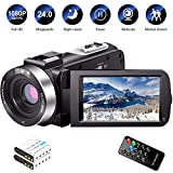 Video Camera Camcorder Full HD 1080P 30FPS 24.0 MP IR Night Vision Vlogging Camera Recorder 3.0 Inch IPS Screen 16X Zoom Camcorders