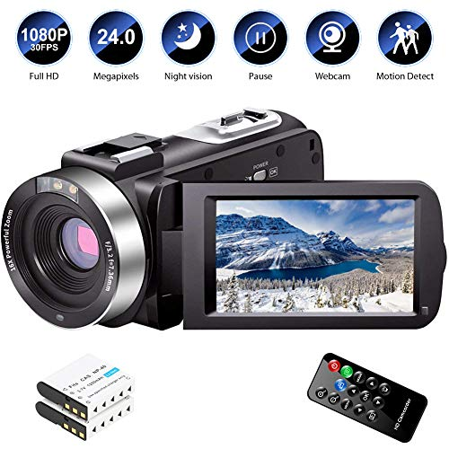 Video Camera Camcorder Full HD 1080P 30FPS 24.0 MP IR Night Vision Vlogging Camera Recorder 3.0...