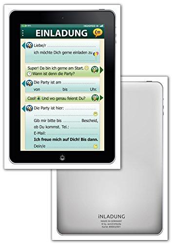 JamOnMedia Juego de 6 tarjetas de invitación con diseño de emoticonos, para tablet, teléfono móvil, smartphone, con emoticonos, ventana de chat SMS para fiesta de cumpleaños infantil