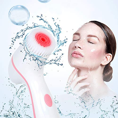 YHYGOO Elektrische Reinigungsbürste, Reinigungsmittel, Hautpflegeset, Silikon-Gesichtsreinigung Mit Aufbewahrungsbasis, 3 Rotierende Bürsten, Wasserdichtes Peeling Und Mitesser,USB Type