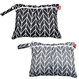 Damero 2pcs Travel Wet and Dry Bag with Handle for Cloth Diaper Pumping