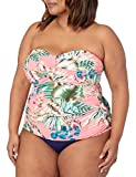 La Blanca Women's Plus Size Bandeau Tankini Swimsuit Top, Coral//Tropical rain, 18W