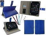 emartbuy Bündel von 5 2 in 1 Eingabestift +Universalbereich Blau Multi Winkel Folio Hülle Schutzhülle Cover Wallet Hülle Schutzhülle mit Kartensteckplätze Geeignet für Odys Pro Q8 8 Inch Tablet