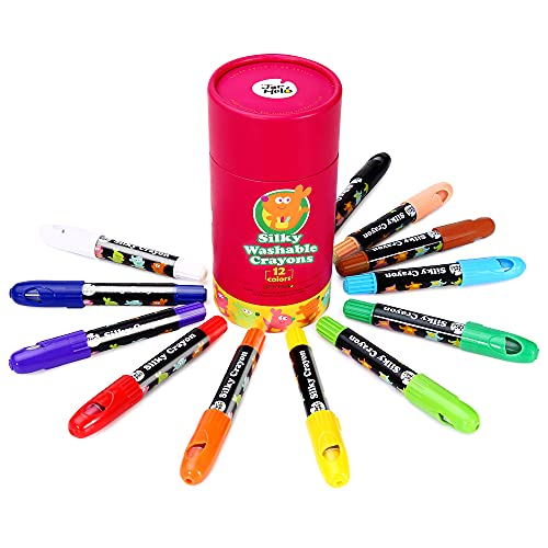Jar Melo Washable Jumbo Crayons for Toddler -12 Colors ;Non Toxic;Twistable Gel Window Crayons;Silky Crayon for kids ; Art Tools;