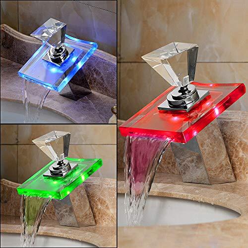 Grifo cascada LED monomando para lavabo con bola de cristal