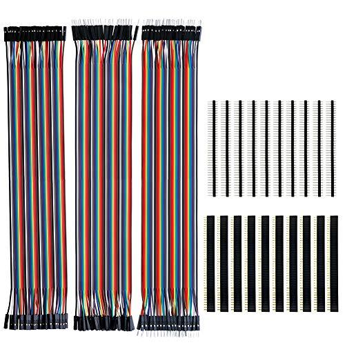 KeeYees 120pcs 3x30CM Jumper Wire Kabel Drahtbrücken Set 40pin Male zu Female, Male zu Male, Female zu Female mit 20pcs Kopfleisten Single Reihe 40pin PCB Stiftleiste 2,54mm für Arduino Raspberry Pi