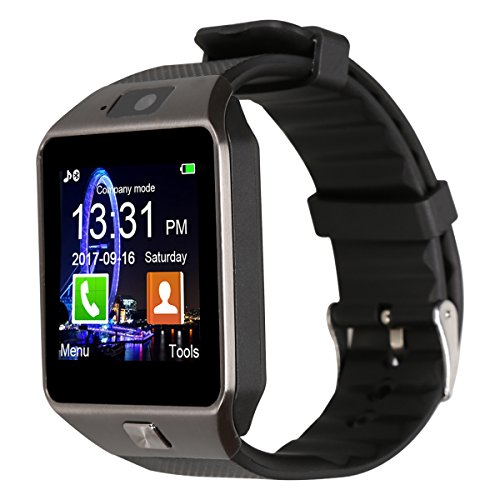 Padgene DZ09 Smart Watch Bluetooth Camera Smart Wrist Watch Phone with SIM Card Slot 2.0 Camera TF Card Support Android Smartphone-Best Gifts (Black Black)
