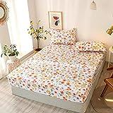 Y-F Juego de sábanas Ajustables con patrón en Forma de corazón tamaño King de 3 Piezas para Cama Doble sabanas Funda de colchón con elástico