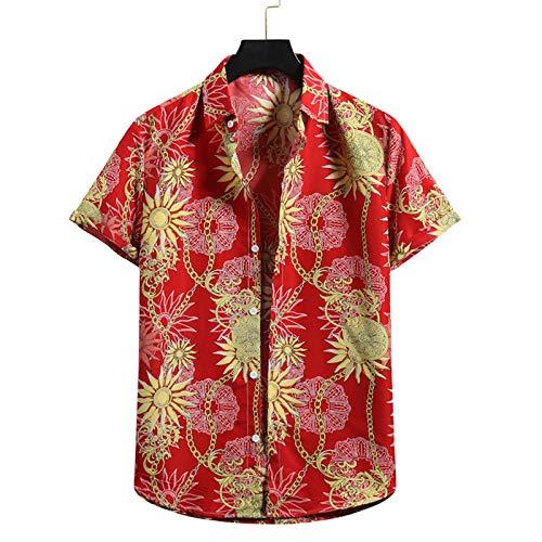 GQFGYYL Camisas de Playa Estampadas para Hombre Blusa Tropical de Manga Corta con Botones Camiseta Casual de Verano para Vacaciones,Marrón,L