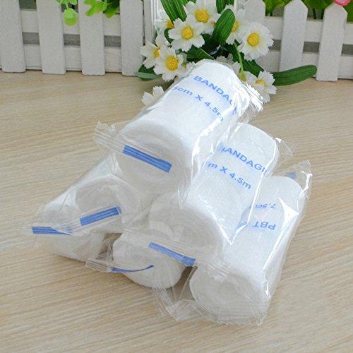 Icarekit 12 Rolls Gauze Bandage Disposable Half Elastic (Stretch) 5 * 450cm 12 Pack