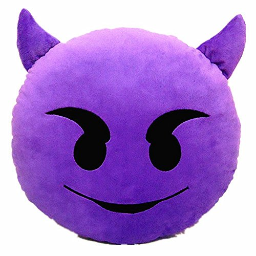 "PLUSH & PLUSH TM 12"" Inch / 30cm Large Emoji Pillows Smiley Emoticon Soft Plush Stuffed Yellow Roundy (Purple Devil)"