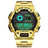 Withou Reloj de los Hombres de múltiples Funciones de los Deportes, la Plaza Redonda de la Manera Reloj electrónico, Piscina Grado Impermeable al Aire Libre Reloj Deportivo (Color : Golden)