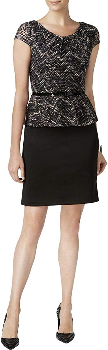 Connected Apparel Womens Petites Jacquard Peplum Wear to Work Dress Black