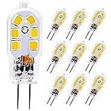 KIGA Ampoule LED G4,2W 12 x 2835 SMD Ampoules OLED,Économie d'énergie Equivalente 20W Halogène Lumière,4000K Blanc Naturel,300LM,AC/DC12V,360° Angle de Faisceaux,Pack de 10 (Blanc Naturel)