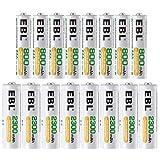 EBL 単三・単四充電池セット16本入り 単3形充電池大容量2300mAh 8本パック+単4形充電池800mAh 8本パック 充電式ニッケル水素電池 AA電池 AAA電池