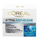 L'Oréal Paris Crema Viso Anti-rughe Attiva 35+, Crema Idratante Prime Rughe, Migliora l'E...