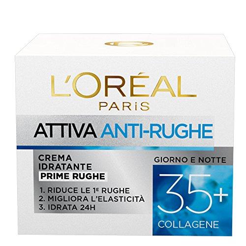L Oréal Paris Crema Viso Anti-rughe Attiva 35+, Crema Idratante Prime Rughe, Migliora l Elasticità e Idrata la Pelle, 50 ml, Confezione da 1