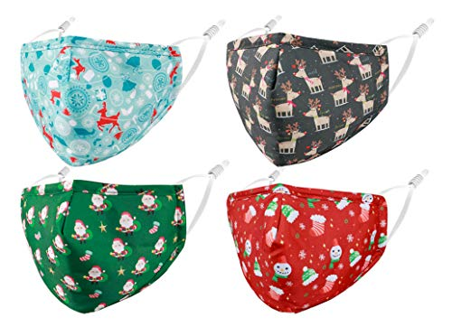 Reusable Cloth Winter Face Masks Women Men Adult, Designer Breathable Washable Adjustable Cotton Fabric Madks 4 Pack Mascarillas Tela para Diseño, Santa Christmas Elements Gift for Women Cute Funny