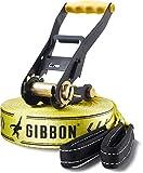 """Gibbon Slacklines Classic Line, giallo, 25 metri (22,5 m slackline + 2,5 m di fettuccia slackline con cricchetto cucito), con cricchetto con protezione e blocco di sicurezza, larghezza 2""""/5 cm"""