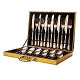 OUDEING Set De Cubiertos Conjunto de vajillas de Plata, 24pcs, Puede acomodar a 6 Personas-Oro Rosa 24pcs