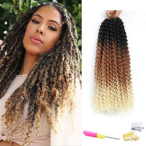 Passion Twist Hair Ombre Crochet Passion Twist 18Inch 6Packs Water Wave Crochet Braids for Passion Twist Crochet Hair (Black Brown Blonde)