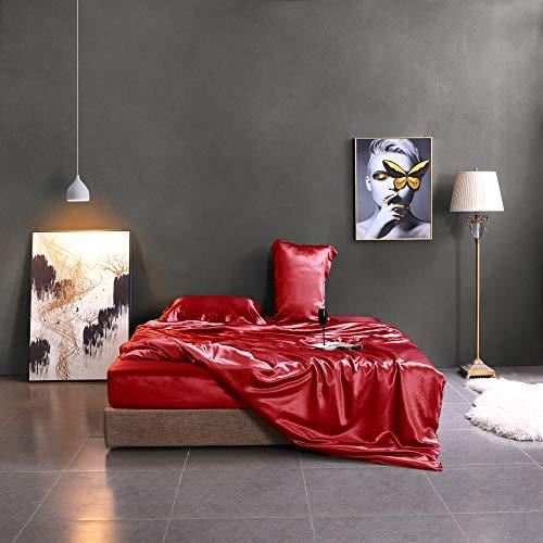 fancy red color satin bedding set