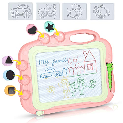 DUTISON Magnetische Maltafel Zaubertafeln für Kinder Löschbar Magnettafel Zaubermaltafel Zeichenbrett mit 5 Form Stempeln und eine Reihe von Formen (Rosa)
