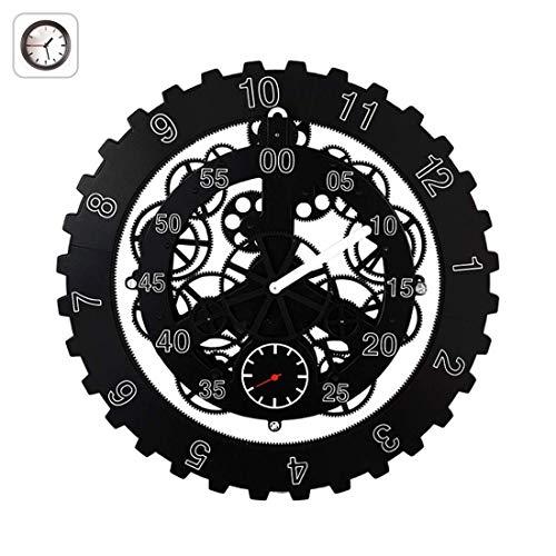 FDYD transmissie wandklok, met 3D-verhuizing Gears, decoratief met premium kunststof bewegende klok (zwart)