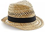 EQT-FASHION Sombrero de paja para hombre y mujer, hecho a mano, accesorio de playa