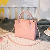 Mdsfe Bolsos Cruzados de Piel sintética de Color sólido con patrón de cocodrilo pequeño para Mujer, Bolsos de Hombro de Verano 2020 para Mujer, Bolsos Simples para Mujer - A Pink, a2