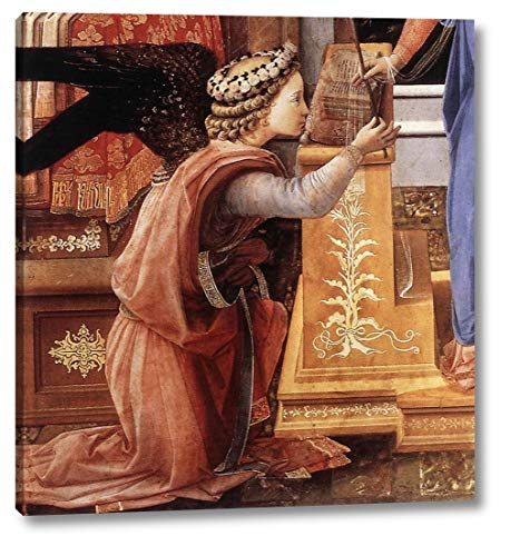 """Annunciation with Two Kneeling Donors Detail by Fra Filippo Lippi - 15"""" x 16"""" Gallery Wrap Canvas Art Print - Ready to Hang"""