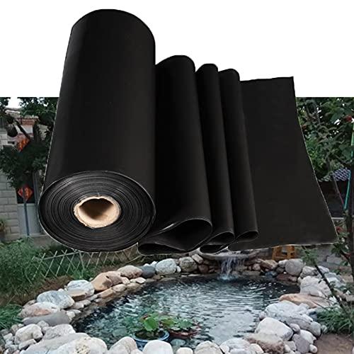 Resistente Estanque de Peces preformados Negro Forros de Estanque Espesor 0.4 mm Membrana Reforzada Forros Revestimiento Pond Liner para jardín,Piscina,paisajismo,Resistente a la Rotura (4×8m)