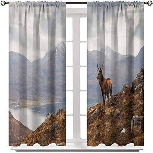 """Living Room Curtain Deer Block Out Drapes Outside Curtain Wild Stag Overlooking Loch Torridon and Dramatic Western Ross Mountain Nature View 2 Rod Pocket Panels 42"""" W x 45"""" L"""