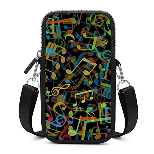 Bolso cruzado con correa de hombro extraíble con patrón de música colorido anticaída bolsa para dinero cintura cartera Yoga Bolsas niños