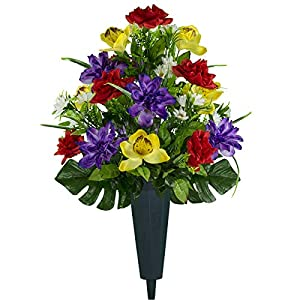 Sympathy Silks Artificial Cemetery Flowers – Realistic Vibrant Roses, Outdoor Grave Decorations – Non-Bleed Colors, and Easy Fit – 1 Red Yellow Purple Orchid Bouquet with a vase