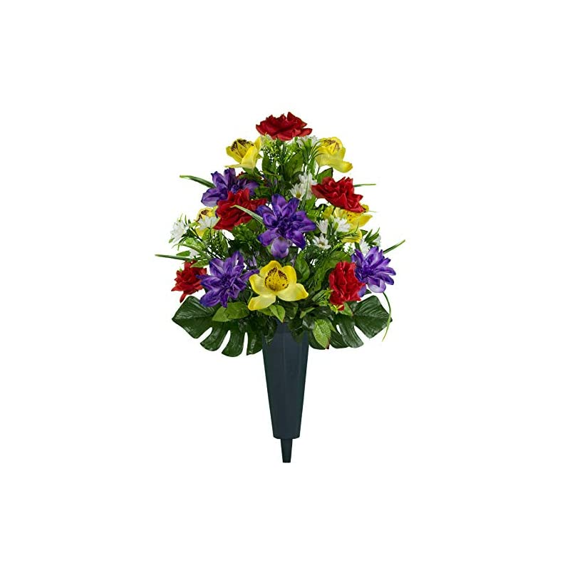 silk flower arrangements sympathy silks artificial cemetery flowers - realistic vibrant roses, outdoor grave decorations - non-bleed colors, and easy fit - 1 red yellow purple orchid bouquet with a vase