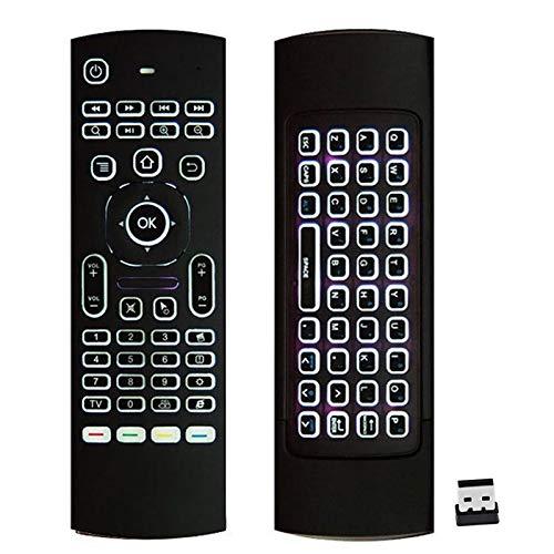 Prochosen, telecomando retroilluminato, mouse volante 2.4G, tastiera wireless e tecnologia infrarossi, per Kodi, Android, TV Box, Smart TV, PC, HTPC, Windows, Mac OS, Linux