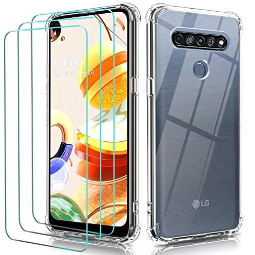 ivoler Funda para LG K61 / LG Q61 + 3 Unidades Cristal Vidrio Templado Protector de Pantalla, Ultra Fina Silicona Transparente TPU Carcasa Airbag Anti-Choque Anti-arañazos Caso