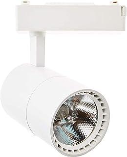 Spot LED rail 40 W lumière blanche froide 6000 K monophasé blanc