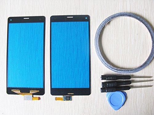 Ersatz Touchscreen Glas Front Panel Digitizer für Sony Xperia Z3 Compact Mini D5803 D5833 + Werkzeuge & doppelseitigen Kleber (schwarz)