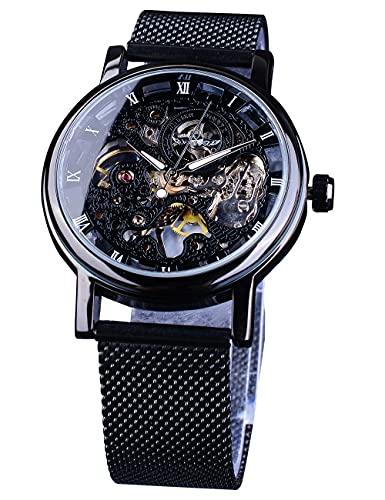Winner Classic Mesh Band Relojes automáticos para hombres Luminoso Esqueleto Transparente Relogio Masculino Unisex Mecánico Reloj de pulsera de acero inoxidable