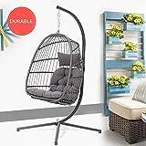 Hanging Basket Egg Chair, Indoor Outdoor Patio Wicker Hanging Chair...