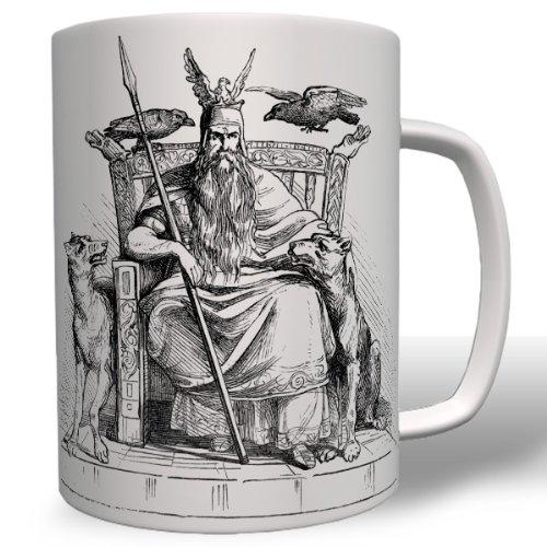 Odin Vikingo mitología Historia Dios cuervos Wolf de taza café # 7730