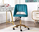 Guyou Upholstered Home Office Chair Hollow Out Back, Cute Armless Vanity Stool Adjustable Swivel Study Desk Chair with Brass Base, Teal Blue