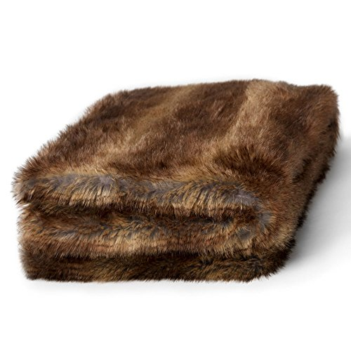 Icon Manta de piel sintética de lujo OSO PARDO, 150x200cm - suaves, extra-grandes - cobija para el sofá en la sala de estar o Cubrecamas decorativo tamaño King para el dormitorio - marrón