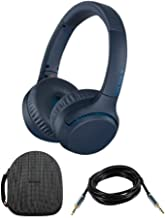 Sony WHXB700 Wireless Extra Bass Headphones (Blue) with Headphone case and 10ft 3.5mm Cable Bundle
