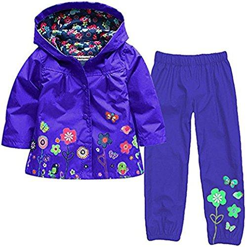 WWZ Unisex Kinder Regenmantel – niedliches Muster bedruckt Regenkleidung mit Kapuze Knopf Regenmantel Unterstützung für Schulrucksack für Jungen Mädchen (Alter 3–4 Jahre), lila